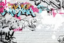 Wall mural - White Brick Graffiti