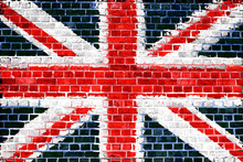 Leinwandbild - Union Jack Brick Wall