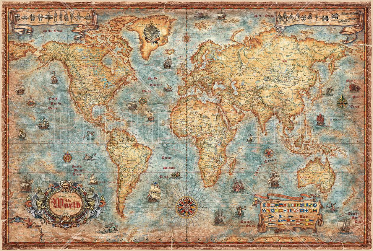 . modern world antique map  wall mural  photo wallpaper  photowall