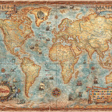 World map wallpaper wall murals for Antique map wallpaper mural