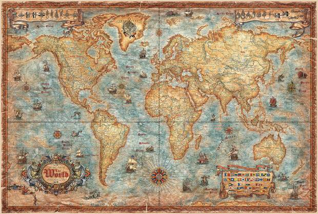 Modern world antique map wall mural photo wallpaper for Antique wallpaper mural