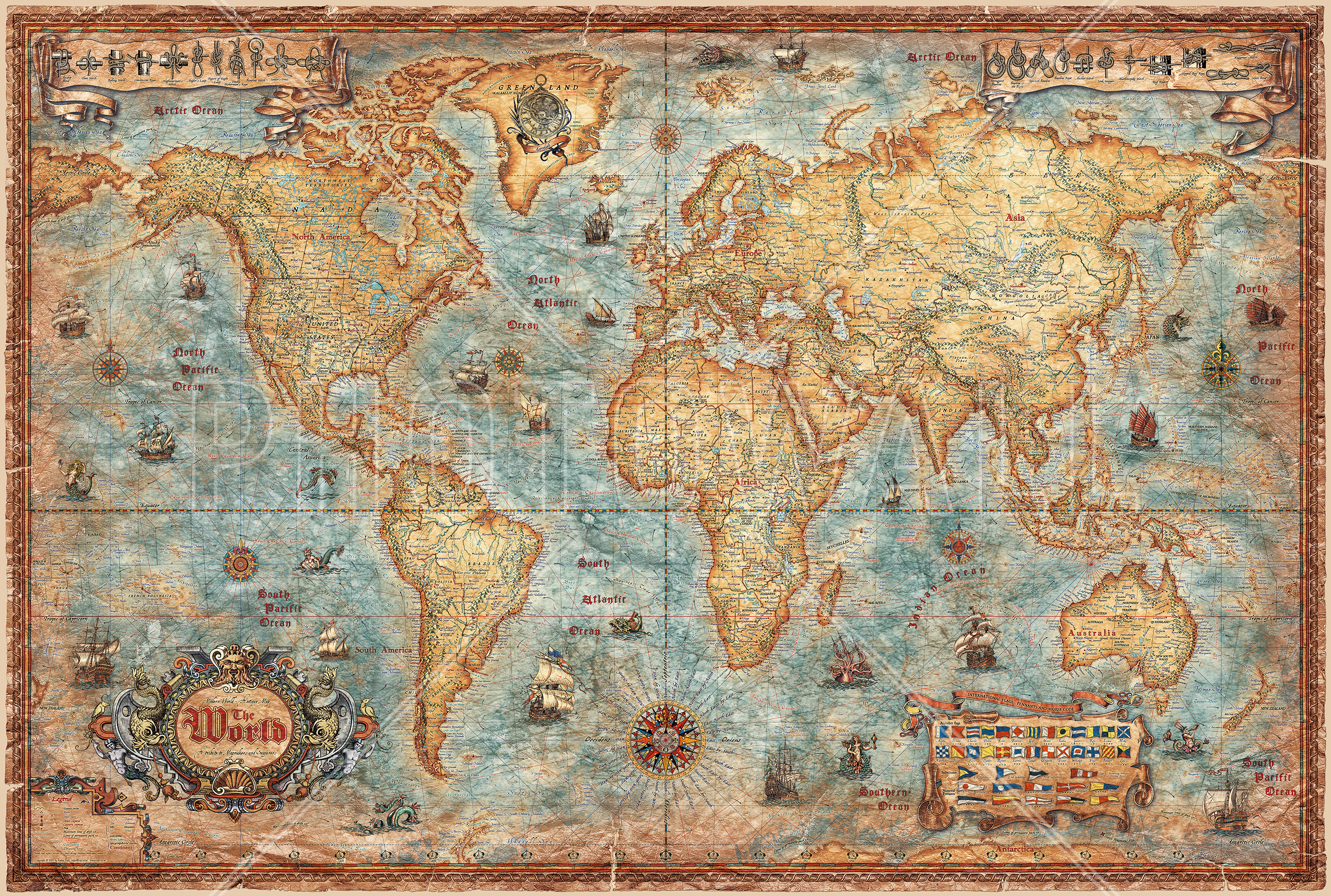 Wall mural map of the world for Antique mural wallpaper