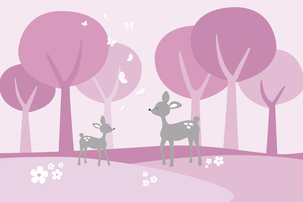 Deer in Woods - Pink