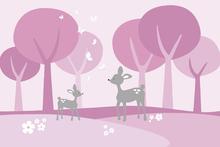 Wall mural - Deer in Woods - Pink