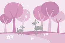 Canvasschilderij - Deer in Woods - Pink