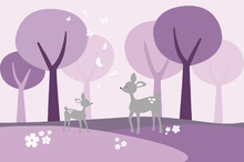 Wall mural - Deer in Woods - Purple