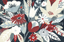 Wall mural - Vintage Bouquet Red