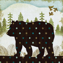 Wall mural - Woodland Dwellers Bear Dots