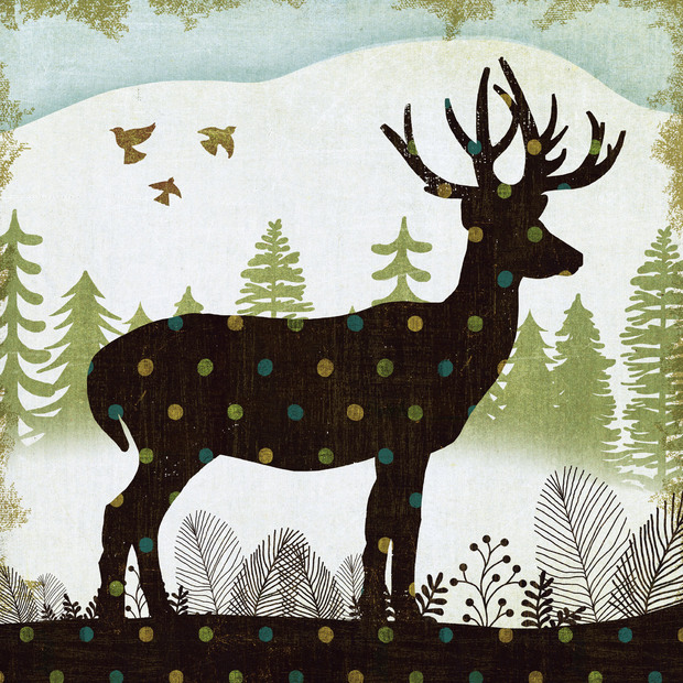 Woodland dwellers deer dots wall mural photo wallpaper for Deer landscape wall mural