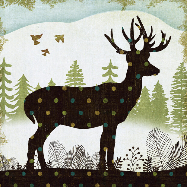 Woodland dwellers deer dots wall mural photo wallpaper for Deer mural wallpaper