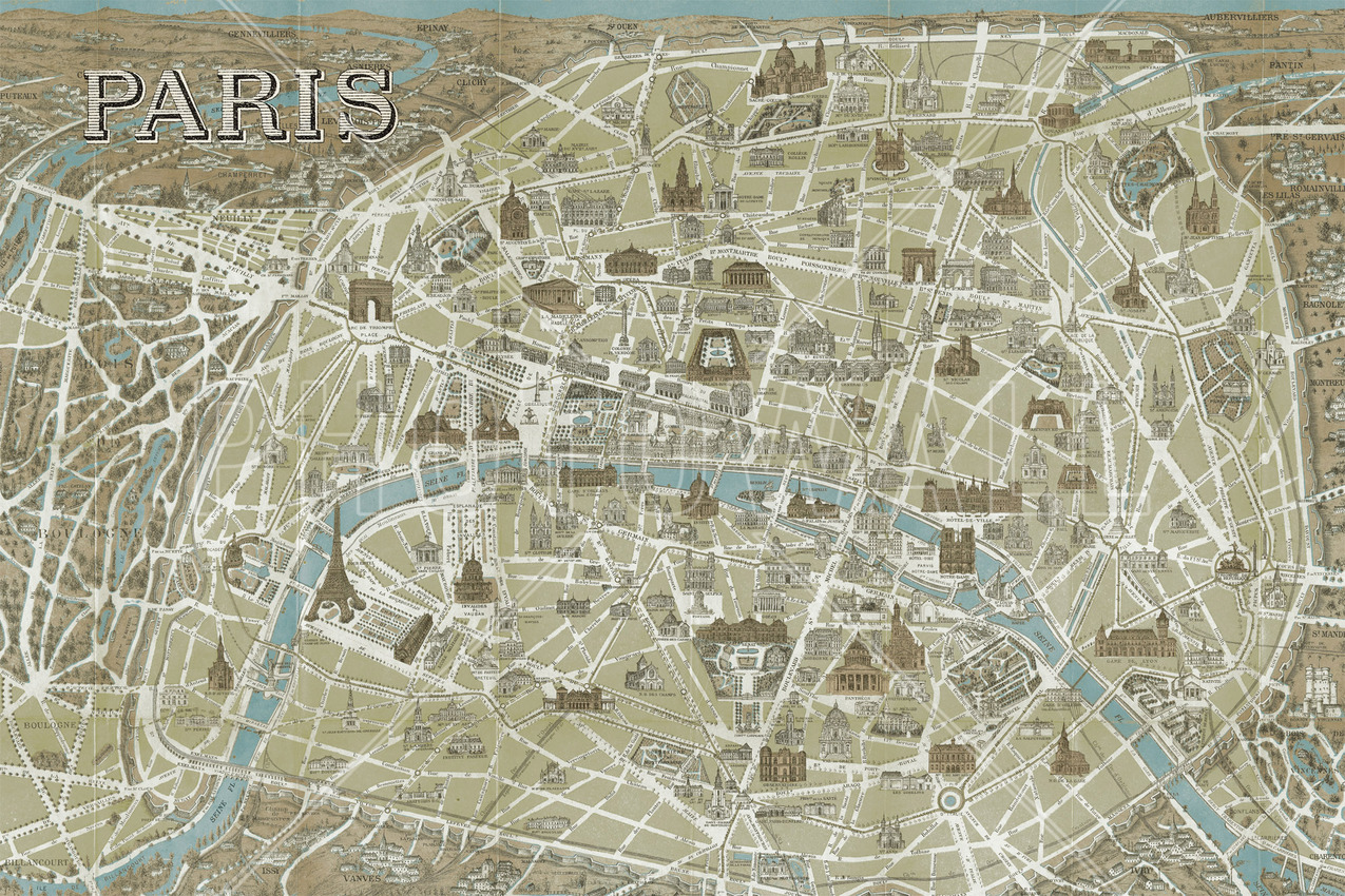 Monuments of Paris Map Blue Wall Mural Photo Wallpaper Photowall – Map of Paris with Monuments