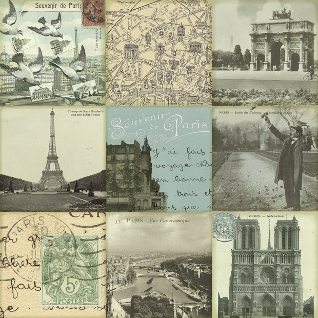 Carte postale wall mural photo wallpaper photowall for Presentoir carte postale mural