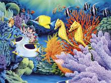 Wall mural - Seahorses