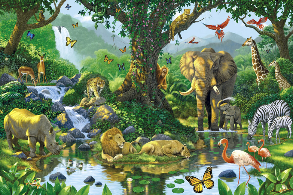 Jungle harmony wall mural photo wallpaper photowall for Animal wall mural