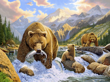 Canvas print - Bear Salmon Fishing