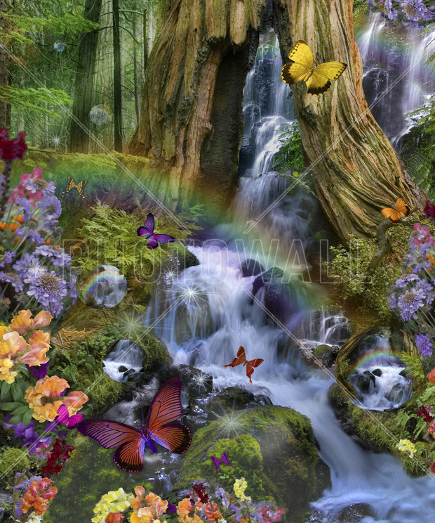 Woodland forest fairyland wall mural photo wallpaper for Fairy garden wall mural