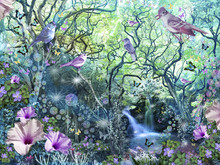 Wall Mural - Swirly Tree Garden