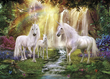 Leinwandbild - Waterfall Glade Unicorns