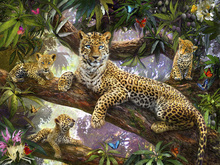 Lerretsbilde - Tree Top Leopard Family