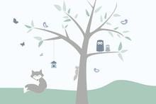 Wall mural - Animal Tree - green