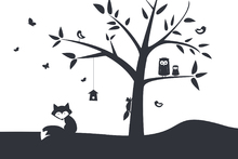 Wall mural - Animal Tree- Black