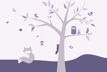 Wall mural - Animal Tree - Purple