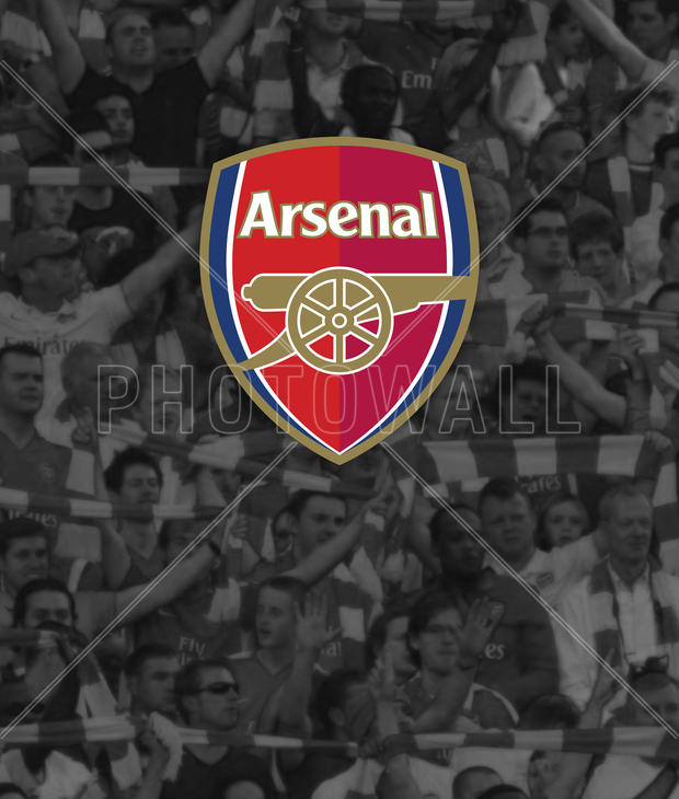Arsenal emblem with supporters wall mural photo for Arsenal mural wallpaper