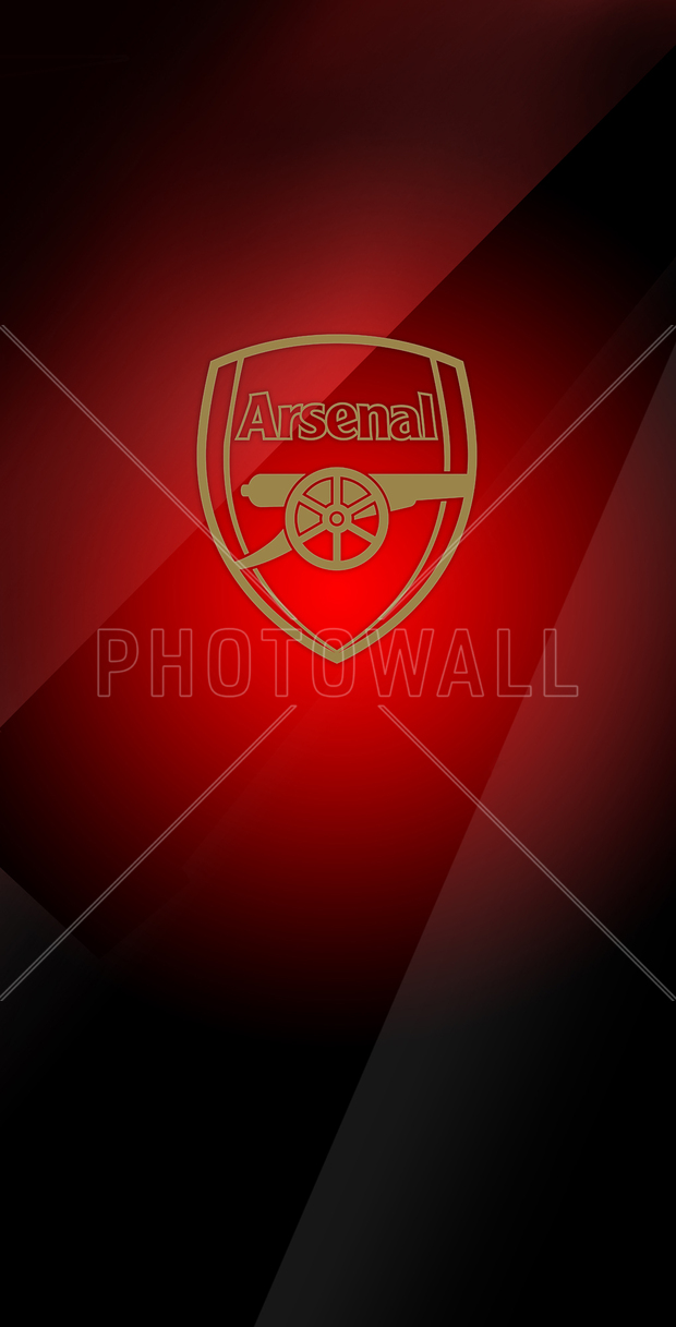 Arsenal golden emblem on redtoned background wall for Arsenal mural wallpaper