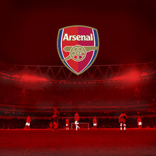 Wall mural arsenal emblem on red stadium for Arsenal mural wallpaper