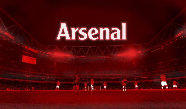 Arsenal logotype on red stadium wall mural photo for Arsenal mural wallpaper