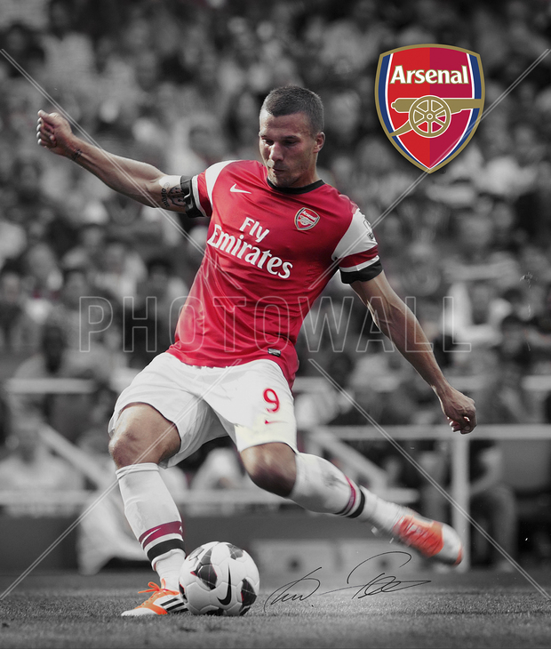 Arsenal f c podolski wall mural photo wallpaper for Arsenal mural wallpaper