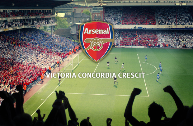 Arsenal f c emblem and victoria concordia crescit wall for Arsenal mural wallpaper