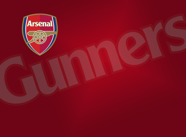Arsenal f c emblem and gunners on red background for Arsenal mural wallpaper