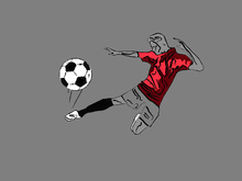 Wall Mural - Kick It - Red Grey
