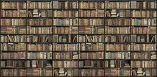 Wall mural - Bookshelf - Black - Brown Long
