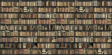 Wall mural - Bookshelf - Black - Brown Long