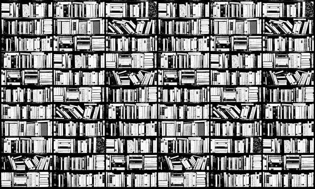Bookshelf graphic black white wall mural photo for Black and white wall mural wallpaper