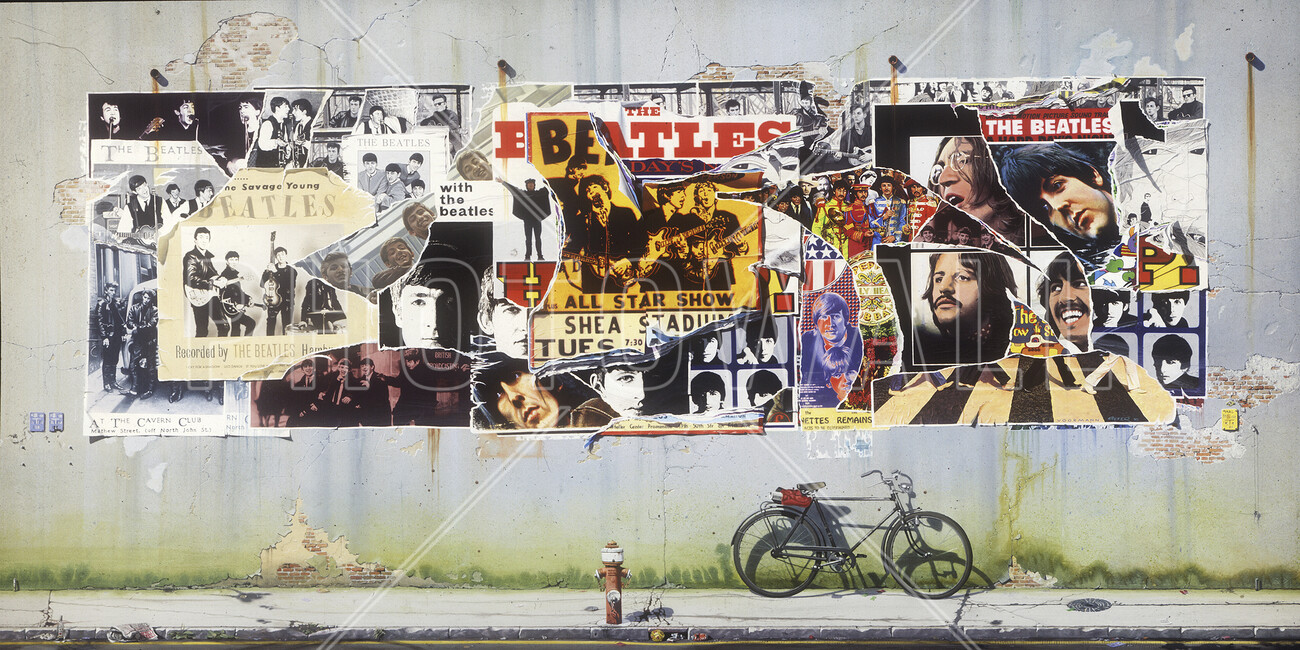 Beatles posters on concrete wall wall mural photo for Cheap wall mural posters
