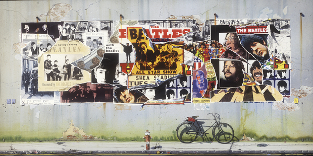 Beatles Posters On Concrete Wall Wall Mural Amp Photo