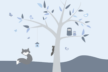 Wall mural - Animal Tree Blue