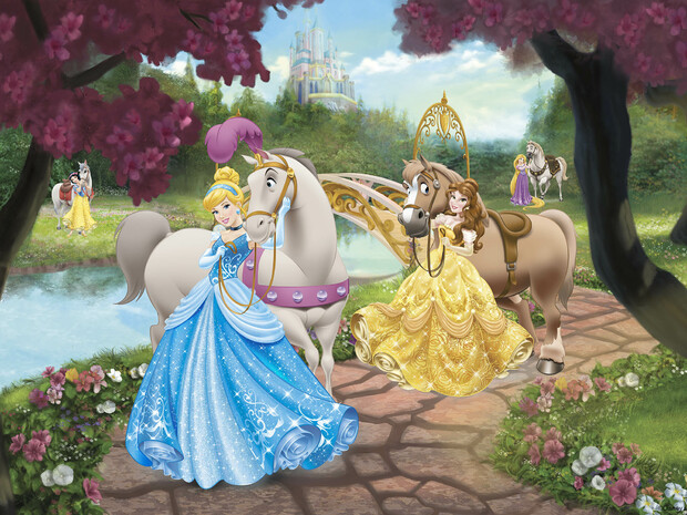 Disney princess horses wall mural photo wallpaper for Disney princess wallpaper mural uk