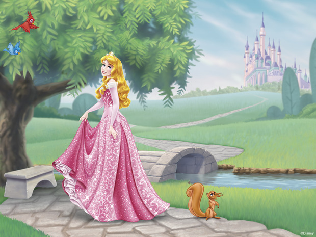 Disney princess aurora wall mural photo wallpaper for Disney princess wallpaper mural uk