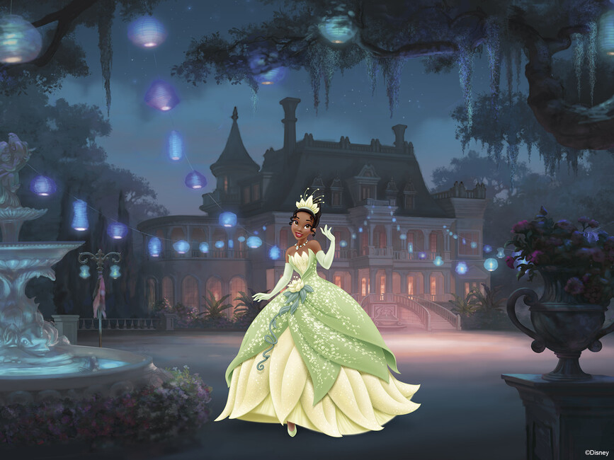 Disney princess tiana wall mural photo wallpaper for Disney mural wallpaper
