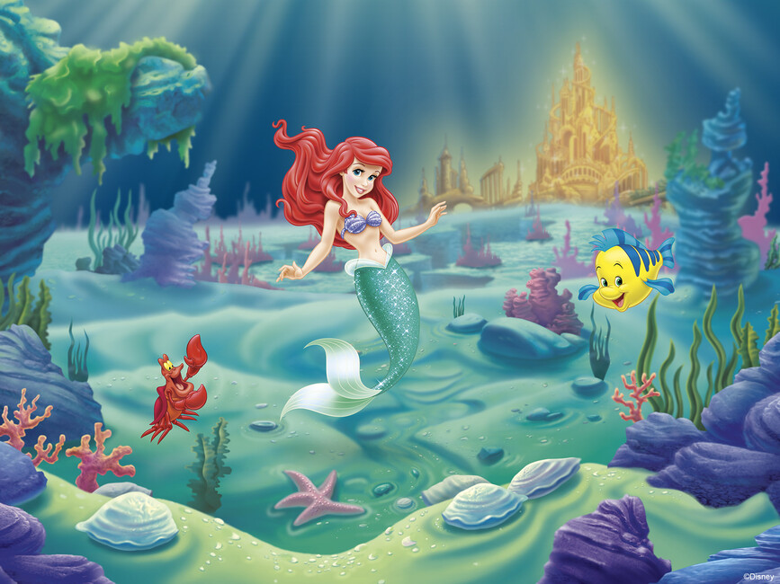 Disney princess ariel wall mural photo wallpaper for Disney princess wallpaper mural