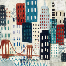Wall mural - New York Skyline Collage - Blue I
