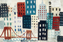 Fototapet - New York Skyline Collage - Blue I