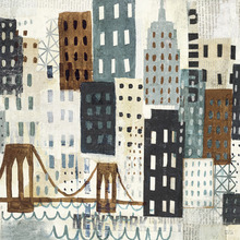 Fototapet - New York Skyline Collage - Grey I