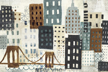 Fototapet - New York Skyline Collage - Grey II