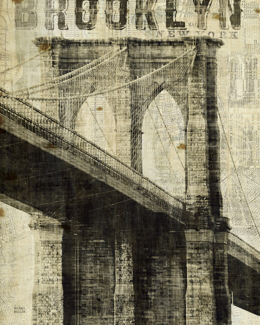 Vintage new york brooklyn bridge wall mural photo for Brooklyn bridge wallpaper mural