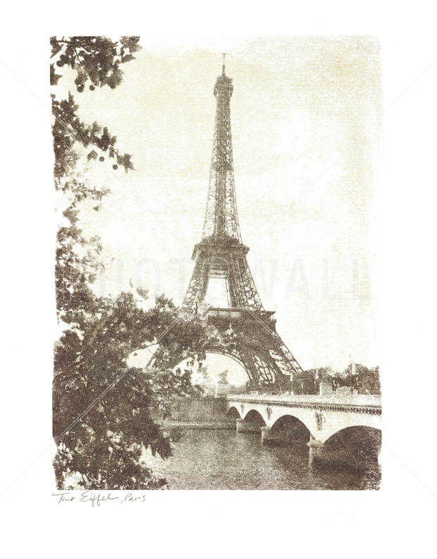 Vintage eiffel tower wall mural photo wallpaper for Eiffel tower mural wallpaper